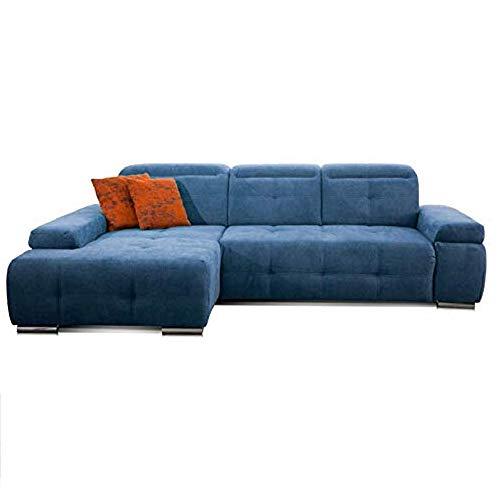 CAVADORE Schlafsofa Mistrel mit Longchair XL links / Große Eck-Couch im modernen Design / Mit Bettfunktion / Inkl. verstellbare Kopfteile / Wellenunterfederung / 273 x 77 x 173 / Kati Mittelblau