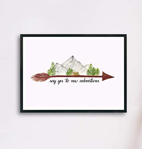 Bild A4 Abenteuer mit Berglandschaft und Zelt | Wasserfarben Bild Camping und Spruch Say yes to new adventures