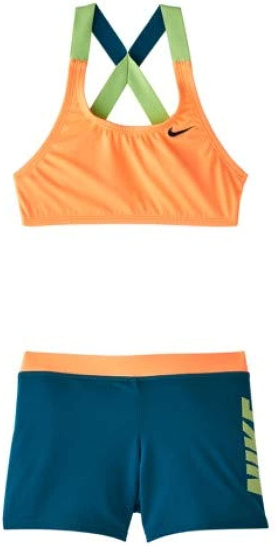 Nike Kids Girl's Rift Prism Cross-Back Bikini and Shorts (Little Kids/Big Kids) オレンジ Large