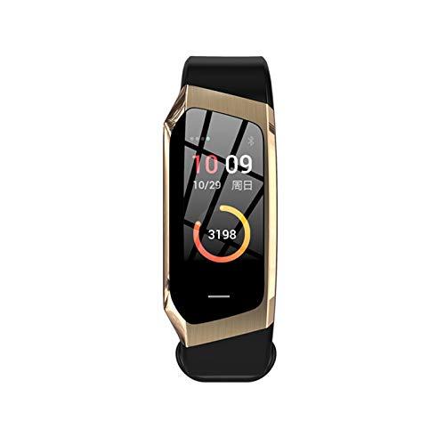 YNLRY Reloj inteligente para hombre con Android IOS para ejercicio de presión arterial dinámica de la frecuencia cardíaca, cuenta de pasos, reloj inteligente para mujer (color negro y dorado)