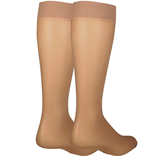 NuVein Sheer Compression Stockings for Women Fashion Silky Sheen Denier Knee High, Beige, Large