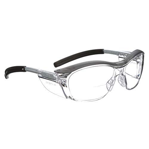 3M Nuvo Reader Protective Eyewear, 11435-00000-20 Clear Lens, Gray Frame, 2.0 Diopter (Pack of 1)