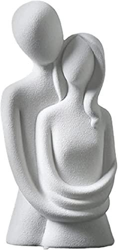 DZCGTP Estátua de cerâmica simples abraçando casal minimalista apaixonado cerâmica decoração estatueta amor abstrata romântica ornamento