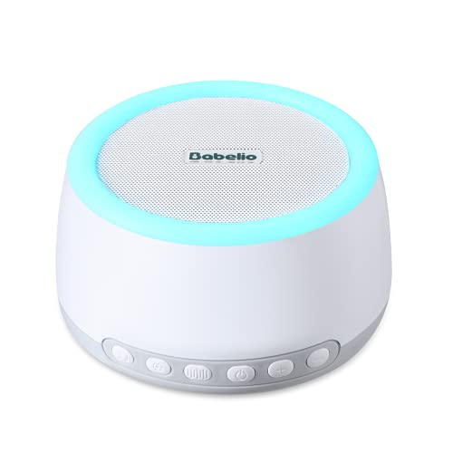 Babelio White Noise Machine with Night Light, Portable Sound Machine for Baby Kids Adults Sleeping with Rechargeable Battery for 20h Cordless Use, 32 Relaxation Noise, Bluetooth, Timer, Memory Feature