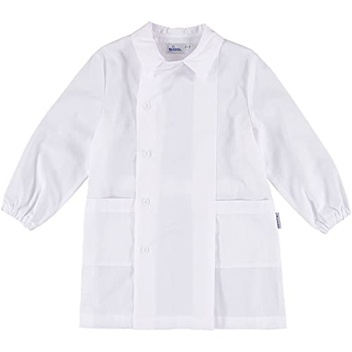 siggi Grembiule Bimbo Bianco Abbottonatura Laterale-8/Anni - 128 cm