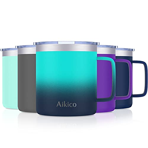 Coffee Mug with Handle, Aikico 14oz Stainless Steel Insulated Coffee Travel Mug Tumbler with Lid, Double Wall Vacuum Coffee Cup for Cold Drinks & Hot Beverages, Ocean