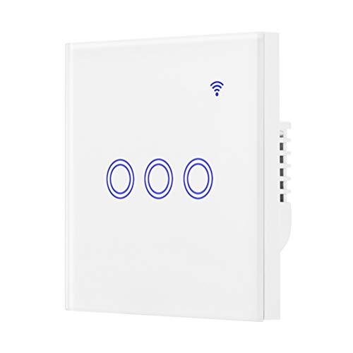 Mobestech - Interruptor táctil inalámbrico, WiFi, Smart Touch, control por aplicación, interruptor de luz LED de pared, compatible con Alexa (3 velocidades)