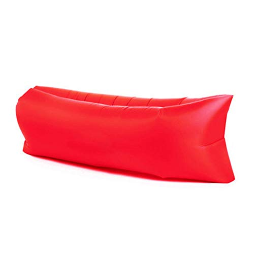 ZWL Colchón De Aire Portátil Flocado De Rayas Cama Inflable Transpirable Ropa De Cama Gruesa Tatami para Interiores Y Exteriores,Rojo