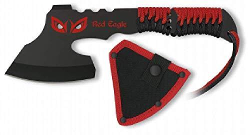 VIKING GEAR® robuste Wurfaxt in schwarz, rot + Kopftasche - Dead Pool Axt - Beil - Survival Gear - Tomahawk - schnelles werfen in der Apokalypse