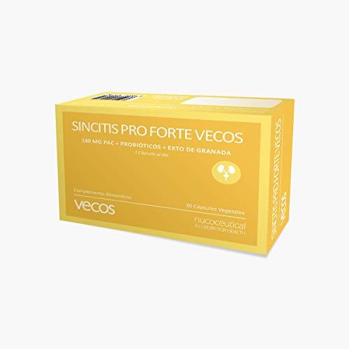 Sincitis Pro Forte para la salud del tracto urinario – Suplemento de arándano rojo (140 mg PAC), granada y probióticos recomendado en procesos de infección de orina y cistitis – 30 caps – 100% Vegano