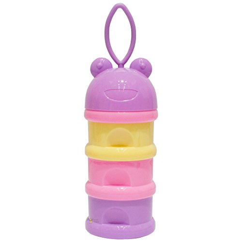 Rachna's Unbreakable 3 Layer Portable Baby / Infant Spill-Proof Milk Powder Container Food Storage Box with Funnel - 9051 - Purple + Yellow + Pink