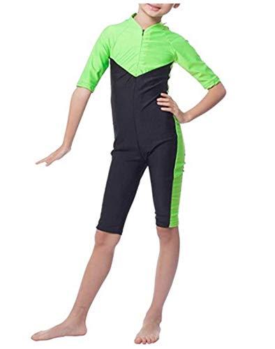 YEESAM Kinder UV Schutz Schutzkleidung Wetsuit Badeanzug Badebekleidung Wassersport Anzug Shorty - Bescheiden Bademode Muslimische (Asien XL ~ Höhe: 135-160cm, Grün)