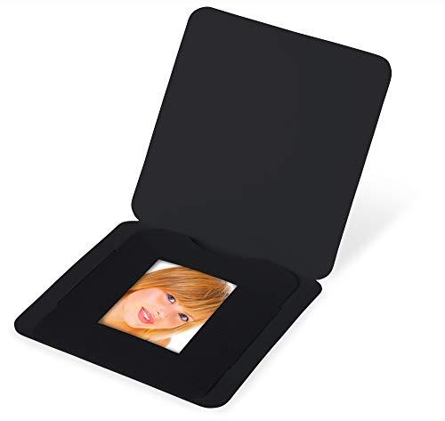Marthiesens® 100 Stück Passbildmappen/Steckmappen für Passbilder im Format 3,5 x 4,5 cm - Leinen-Karton schwarz