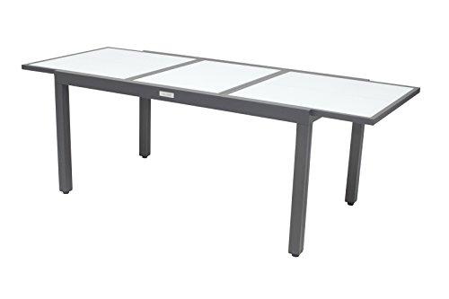 Villana exklusiver Ausziehtisch, Gartentisch aus hochwertigem Aluminium in schwarz, 160/220 x 90 x 75 cm, Glastischplatte, Outdoortisch, Esstisch, robust, pflegeleicht, klassisches Design