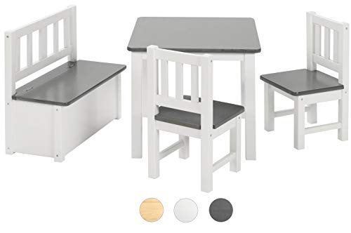 BOMI Kindermöbel Tisch und Stühle | Kindertruhenbank aus Kiefer Massiv Holz für Kleinkinder, Mädchen und Jungen Anthrazit