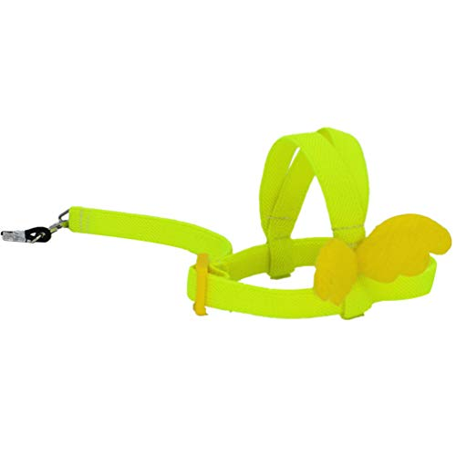 POPETPOP Loro Pájaro Arnés-Lindo arnés para pájaros Cuerdas voladoras Cuerda para Mascotas Loro Entrenamiento al Aire Libre para periquitos Lovebird Cockatiel Mynah Pájaros pequeños-Amarillo