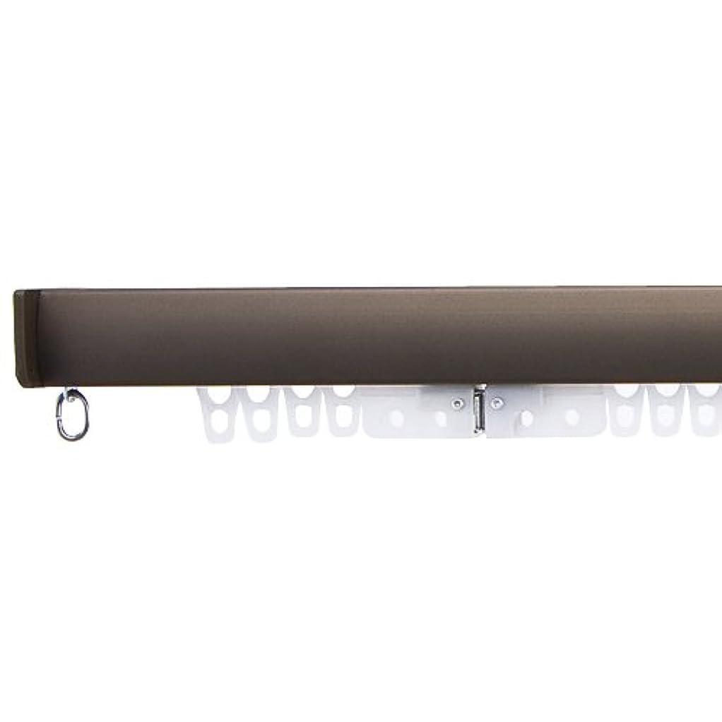 ディレイ減衰熱意穴あけ不要のつっぱり式のカーテンレール 「フィットワン」(1.5~1.9mの窓に対応)ブラウン