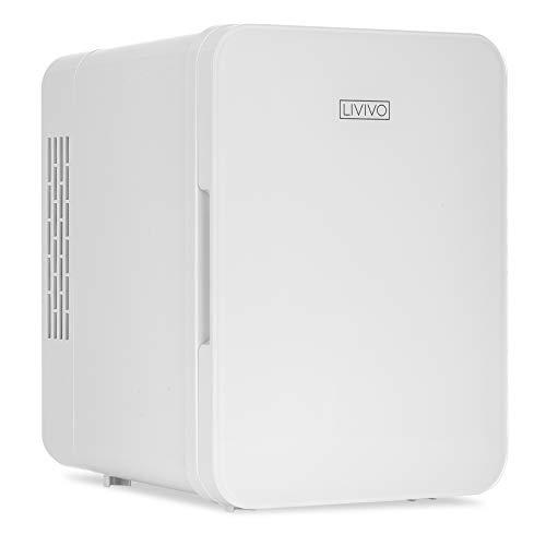 LIVIVO Mini-Kühlschrank-Kühlschrank mit Glastür, 12 V DC oder 240 V AC, Dual-Eingang, geräuschlos, thermoelektrisch, perfekt für Schlafzimmer oder Lounge (weiß)