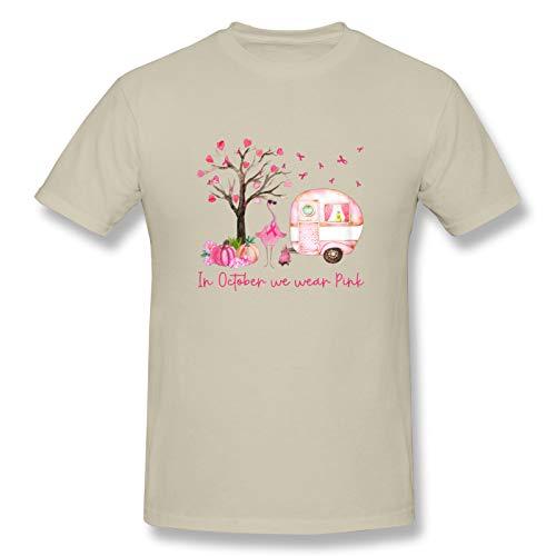 In October We Wear Pink Men's Graphic Cotton Short Sleeve T-Shirt Natural Medium