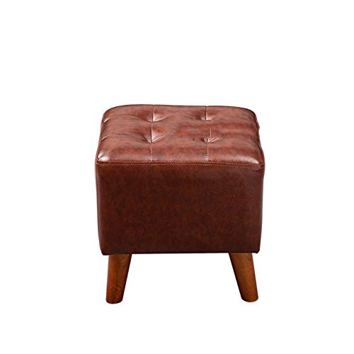 LLDW Saco De Dibujo Cuadrado, Sofá De Cuero Stoolcreative Cuero Square Square Solid Wood American Shoe Taburete Sala De Estar Sofá Taburete Home Coffee Table