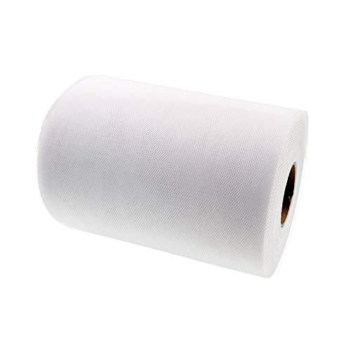 JZK 15 cm x 90 m Rotolo Tessuto Tulle Bianco per Fare Gonna Tavolo Tulle Bambina tutù PON PON Fiocco, per confezionare bomboniere Confetti, Decorazioni Matrimonio Festa Compleanno
