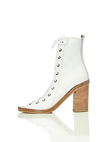 find. Sandalen Damen mit Schnürung und hohem Blockabsatz, Weiß (White), 39 EU