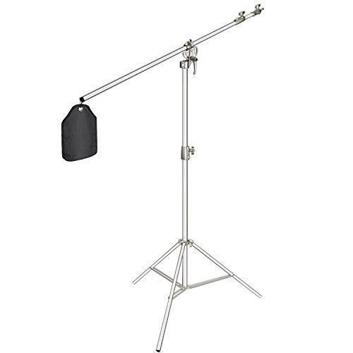 Neewer Fotostudio 2-in-1 Lichtstativ 123-385cm Höhenverstellbar mit 216cm Auslegerarm und Sandsack zur Unterstützung von Schirmen Softbox Blitz für Video Fotografie (Silber)