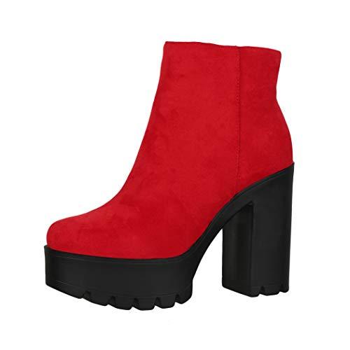 Elara Botines Chelsea para Mujer Chunkyrayan Rojo HQ115 Red-36
