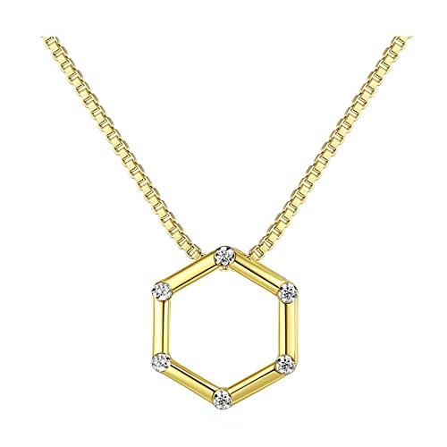 xu Collar Simple de Plata esterlina S925 con Colgante Hexagonal de circonita cúbica Brillante 3A