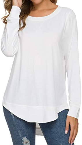 WEIYAN Womens Long sleeve Casual T shirts Tunic Blouse Loose Curved Hem Tops White XX Large product image
