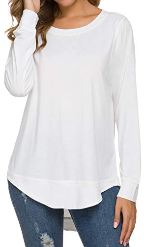 WEIYAN Womens Long Sleeve Casual T-Shirts Tunic Blouse Loose Curved Hem Tops(Large,White)