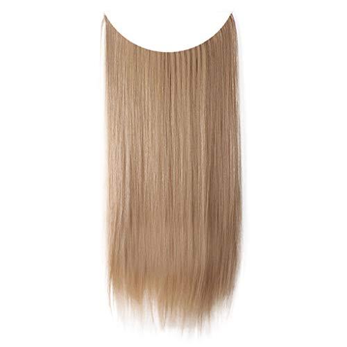 Mode Clip épais Extensions Cheveux Boucles Droites Full Head Hairpiece Nouveau Morceau Fil Fibre Chimique Haute Température Ligne Pêche Sunenjoy