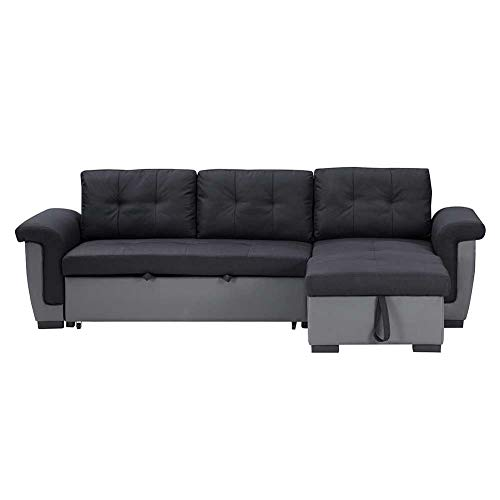 Convertible Sectional Sofa Couch Bed - Modern Linen Fabric L-Shaped Couch for Small Space - Double Seater Sleeper Sofa Couch for Adult Dorm Bedroom Room