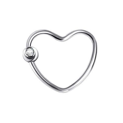Bishilin Jewelry Heart Shaped Nose Rings Stainless Steel Silver Nose Ring for Women Gift
