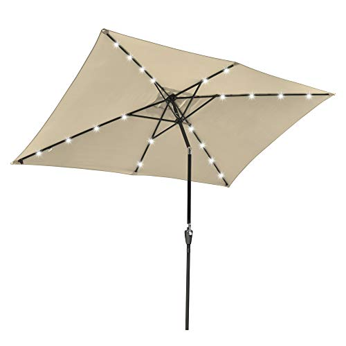 Ruication 2m x 3m Square Patio Parasol Umbrella With LED Lights Hanging Sun Shade Crank Tilt Deluxe Octagon Sun Shading Canopy for Garden Hotel Market Saloon Pool Side Beach Outdoor Beige