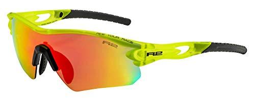 R2 Multi-Sportbrille Proof | Sonnenbrille | Radbrille | Skibrille | Triathlon-Brille (gelb/schwarz, verspiegelt)