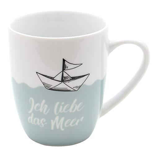 Dekohelden24 Kaffeebecher/Tasse aus Porzellan, Motiv: Ich Liebe das Meer. Größe H/Ø: 9,8 x 8,2 cm, Fassungsvermögen 250 ml, Spülmaschinengeeignet.