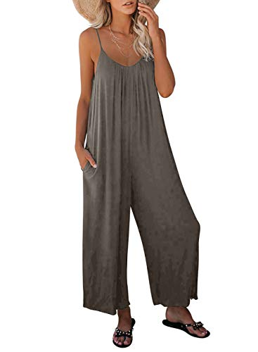 Dokotoo Women's Loose Plus Size Jumpsuits for Women Adjustable Spaghetti Strap Stretchy Wide Leg Solid One Piece Sleeveless Long Pant Romper Jumpsuit with Pockets Gray Large