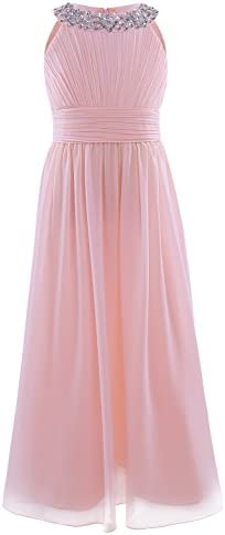 iEFiEL Junior Girls Bridesmaid Elegant Sequins Neckline Long Chiffon Dress Pleating Prom Gown product image