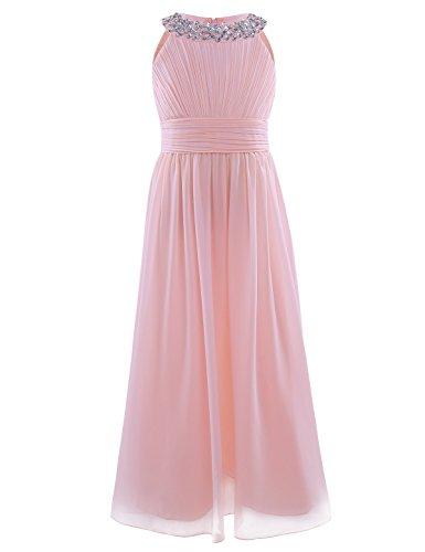 CHICTRY Mädchen Kleider Prinzessin Kleid Hochzeit festlich Lange Partykleid Abendkleid Festkleid Blumenmädchenkleid Gr. 104 116 128 140 152 164 (152/12 Jahre, Perle Rosa)