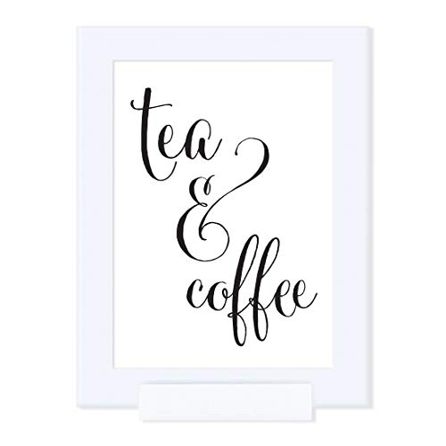 Andaz Press Wedding Framed Party Signs, Formal Black and White, 5x7-inch, Tea & Coffee Reception Dessert Table Sign, 1-Pack, Includes Frame