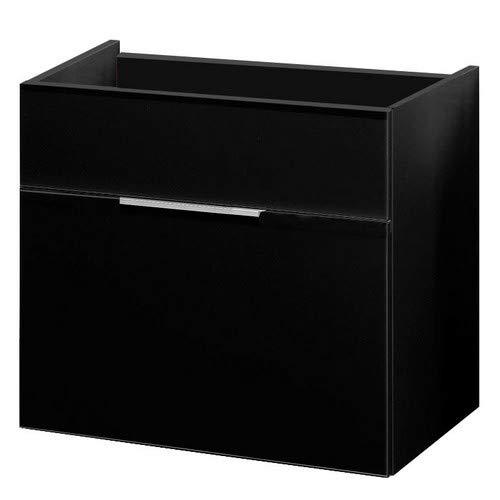 FACKELMANN Waschtischunterschrank KARA / Badschrank mit Soft-Close-System / Maße (B x H x T): ca. 80 x 59 x 49 cm / hochwertiger Schrank fürs Bad / Möbel fürs WC oder Badezimmer / Korpus: Anthrazit / Front: lackiertes Glas in Anthrazit