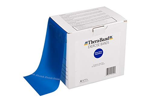 TheraBand Resistance Bands 50 Yard Roll Professional Latex Elastic Band For Upper amp Lower Body amp Core Exercise Physical Therapy Pilates Home Workout Rehab Blue Extra Heavy Intermediate Level 2