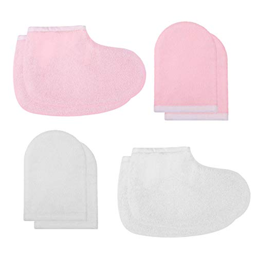LEORX Paraffin Wax Gloves and Booties Set 4 Pairs Terry Cloth Mitts Booties Moisturizing Spa Accessories for Hand Foot Care (Pink and White)