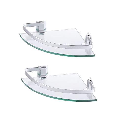 KES Glasregal Eckregal Badregal Glas Duschablage zum Hängen 8mm Badezimmer Wandregal Dusche Glas Ablage Wandmontage Ecke 2 Stück Organizer Aluminium Silber, A4120A-P2