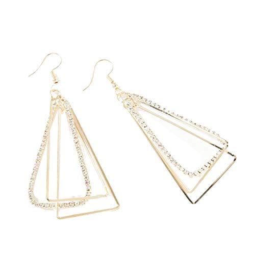 UINGKID Ohrstecker Mode Einfache Stilvolle Attraktive Geometrische dreidimensionale dreieckige Metall Zirkon Ohrringe ewelry
