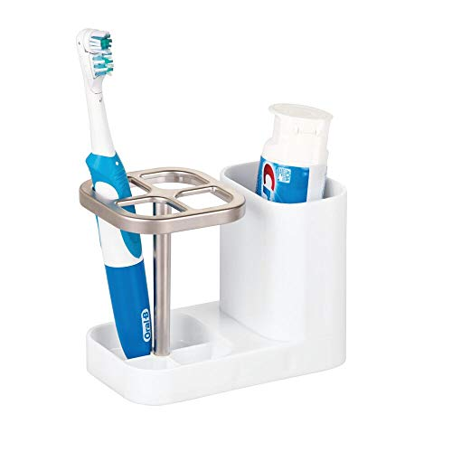 mDesign Bathroom Vanity Countertop Toothpaste amp Toothbrush Holder Stand with Cup/Dental Center Holds Electric Toothbrushes  BPA Free  White/Satin