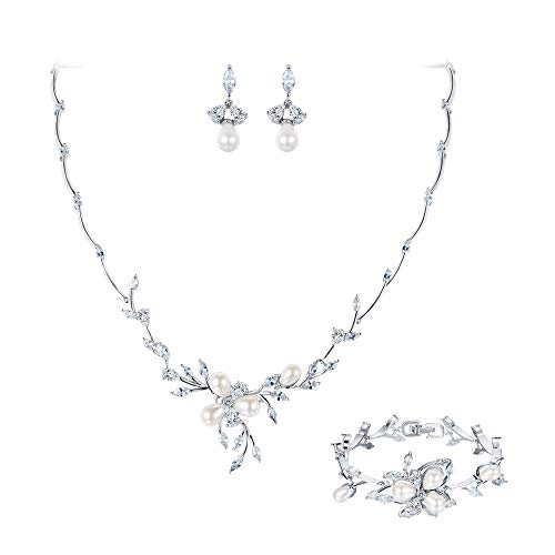 EVER FAITH Clear Marquise CZ Simulated Pearl Bride Flower Leaf Filigree Necklace Earrings Bracelet Set Silver-Tone