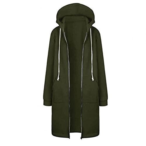 Sudadera con capucha para mujer, abrigo largo, chaqueta para exterior, sudadera con capucha, abrigo, cremallera, cálida, verde 2 brazos, XXXL