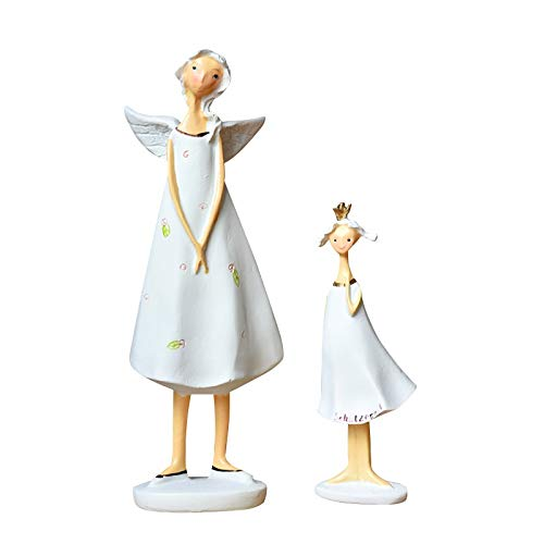 WGGTX Europäischer Engel Mutter-Tochter-Statue Elfen Figurine Elven Desktop-Art Ornaments Home Geschenk